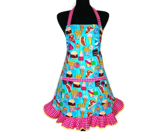 Snack Foods Retro Kitchen Apron For Women , Teal and with Hot Pink Ruffle