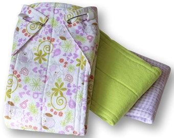 Cloth Prefold Diapers Set of 3. Large Reusable Cotton Flannel Baby Nappies. Burp Cloths. Changing Pads. Trifold Soaker. Zorb Booster Inserts