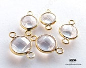 15mm (8mm Stone) Rose Quartz Gold Bezel Gemstone Wrapped Connector F391- 4 pcs
