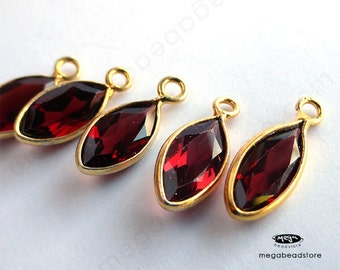 6 pcs 8mm Red Garnet (natural) Gold Bezel Marquise Drops Pendants F598