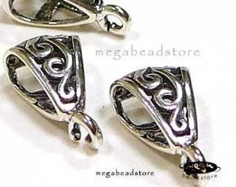 2 pcs Patina Oxidized Bail Bali 925 Sterling Silver Pendant holder F216