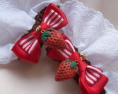 STRAWBERRY HEART Wrist Cuffs- White Lace (All Bow Colours)