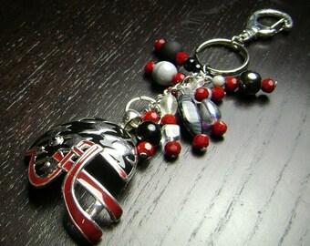 Crimson Black and Silver Enamel Houndstooth Football Helmet Key Chain/Purse Charm