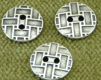 Antique Silver Pewter Criss Cross, City Blocks Button     I17