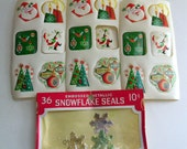 Lot of Vintage Christmas Gift Seals Holiday Stickers Dennison Snowflakes