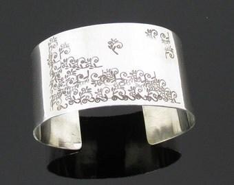 Argentium Sterling Silver Cuff Bracelet Floral Motif Wide