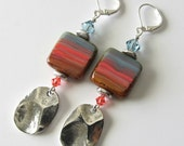 Sunset Beach Beaded Earrings-Long Drop Earrings, Silver Earrings, Coral, Indian Sapphire Blue, Sand, Hammered Drops, Beaded Jewelry