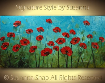 ORIGINAL Large Abstract Red Poppies Impasto Landscape Oil Painting by Susanna 48x24 Ready to Hang