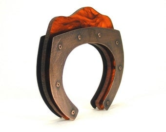 Oxidized Copper and Tortoiseshell Resin Architectural Riveted Cuff Bracelet - Copacetic