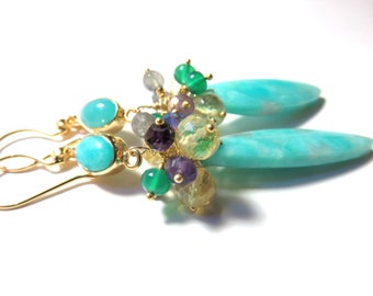 Skyblue Amazonite  Earring Hook & Board,  Amethyst, Onyx, Labradorite , Citrine and Gold Earrings