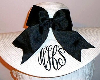 Monogrammed Personalized Floppy Hat Wedding, Bride, Colonial Cup, Bridesmaid, Carolina Cup,  Foxfield, Derby, College, Sorority, Beach, Sun