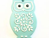 Owl Ornament or Decoration.  Light Turquoise Blue and White Hand Painted Plaster Owl. Christmas Ornament or Decoration.