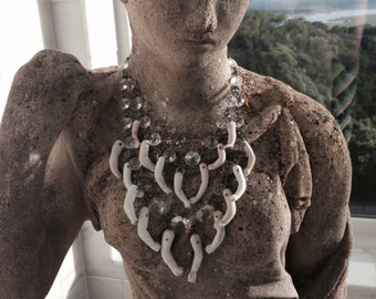 Avant Garde Tribal Bohemian Antique Doll Parts Necklace by Louise Black