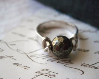 Pyrite Ring, Pyrite Bead, Sterling Silver, Fools Gold, hand forge ring, brushed finish, candies64