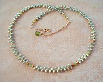 Delicate Mint Green Teardrop Freshwater Pearls with Crystals and Gold Tone Bead Necklace