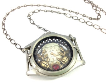 Ladybugs Tele Time Under Glass   ... Steampunk Under Glass Watchcase Victorian Ladybug One of a Kind Pendant