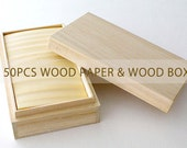 50pcs wood paper made in japan - in the paulownia box - Wooden box - C type
