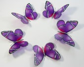 5 Purple Stick on Butterflies, Wedding Cake Toppers, 3D Wall Art, Butterfly Stickers, Wall Decals UNGLITTERED