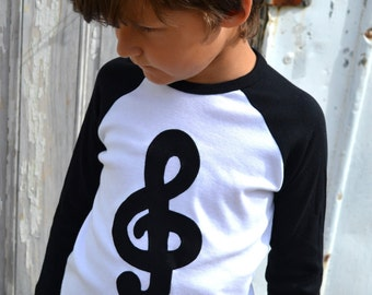Back to School Treble Clef Baseball Raglan for Piano Violin Flute Cello Guitar Lessons Students Music Notes Books Children Sizes