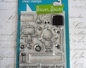 Lawn Fawn Clear Photopolymer Rubber Stamp Set - Beep Boop Birthday