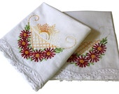 Vintage Embroidery Pillow Cases - Flower Basket Pillowcases, Pair - Red Yellow - Full - Queen