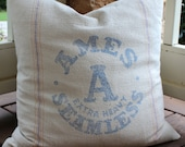 Vintage Grainsack Pillow Cover - Ames Extra Heavy Seamless - Heavy Grain Sack - Blue  on Cream - 18 to 20 Inches - Ready to Ship