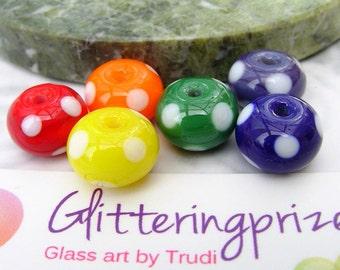 Lampwork Glass Beads Rainbow Bold Polkas Half Set