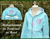 Monogrammed Front (CHEST) AND Hood Rain Coat Jacket - Personalized raincoats Charles River New England Style Waterproof Windbreaker Womens