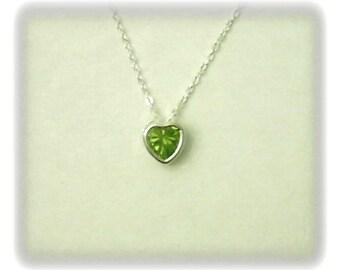 5mm Green Peridot Gemstone Heart in 925 Sterling Silver Backset Bezel Pendant Necklace