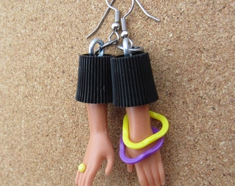 Yellow Ring and two bangled upcycled Barbie Doll Hand Earrings
