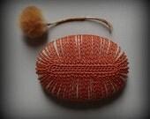 Decorative Arts, Crochet Lace Stone, Original, Handmade, Home Decor, Wedding, Collectible, Serpentine Stone, Harvest Orange Thread