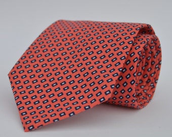 Men's Necktie in Coral and Navy Square Dots