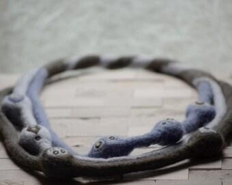Grey Multi Strand Felt Necklace
