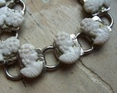 FREE SHIPPING Vintage White Cameo Silver Bracelet