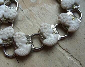 FREE SHIPPING Vintage White Cameo Silver Bracelet