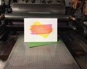 SALE Pink & Yellow Make Orange! / Knockout Letterpress Birthday Card