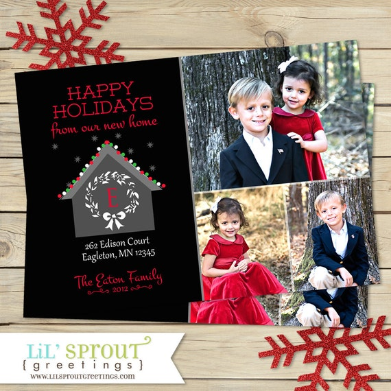 New Home Moving Holiday Photo Card Address Change Christmas