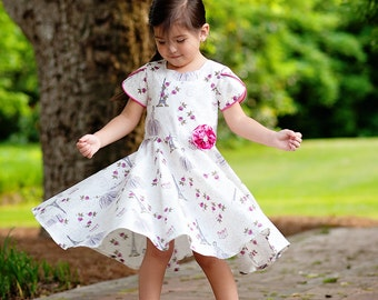 Girls Dress PDF Pattern - Tulip Sleeves Circle Skirt and Sash - 2 to 10 years - Sewing PDF Pattern