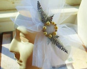White Tulle Bow Barrette with Pearl and Rhinestone Pin
