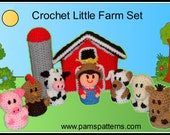 Crochet Little Farm Set, Crochet Animals, Crochet Barn, Crochet instant download