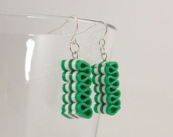 Ribbon Candy Earrings - Christmas Earrings - Green and White Striped Earrings - Holiday Earrings - Handmade, Polymer Clay - Readyto Ship #97
