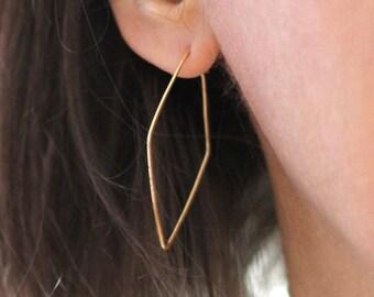 Geometric Hoop Earrings, 14K Gold Fill, Rose Gold Fill, Recycled Sterling Silver, Diamond Shape, Wife Gift