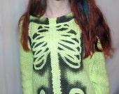 Yellow SKELETON rib cage sweater