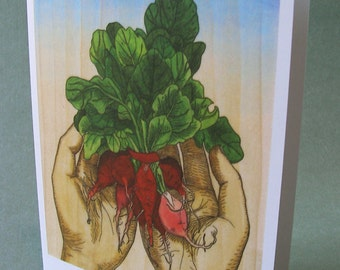 5 x 7 Notecard - A007 HANDFUL OF RADISHES - botanical card - illustration card - nature card - vegetable card - food illustration - garden