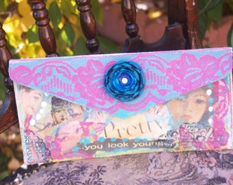 Amazing You Art Clutch Purse Collage Painted One-of-a-Kind Mixed Media One-of-a-kind Art Handbag