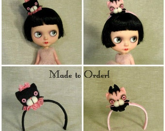 Pink or Black Kitty Cat Headband with Cat Head for Blythe Dolls Custom Made To Order