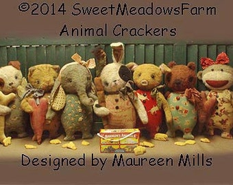 Primitive E-PATTERN Bunny, Dog, Cat, Monkey, Elephant, Pig, Bear Dolls PDF