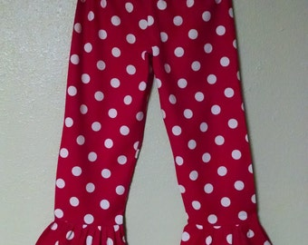 BLOWOUT SALE!!!  **Clearance**  Red and White Polka Dot Ruffle Pants 2t 3t 4t 5 6 6x Girls Children Toddler