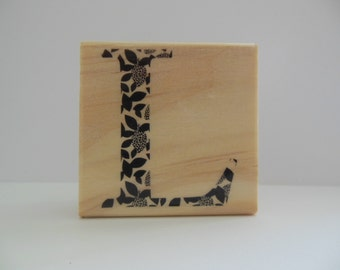 Letter L Rubber Stamp - Modern Monogram Collection - Initial - Alphabet - Wood Mounted Rubber Stamp