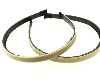 "2 pieces - 10mm (3/8"") Velvet Lined Headband with Teeth in Tan - Hair Accessories"